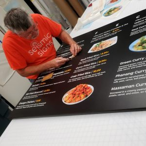 vinyl lettering on menu board